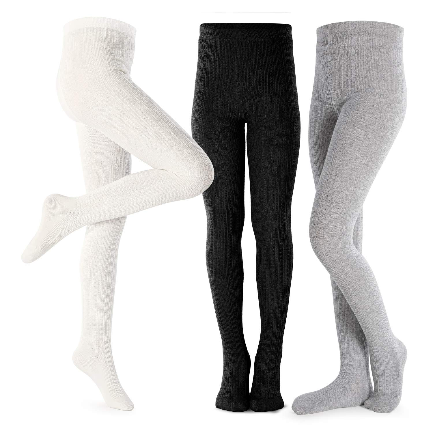 Girls Tights Toddler Cable Knit Cotton Footed Seamless Dance Ballet Baby Girls Leggings 3 Pack