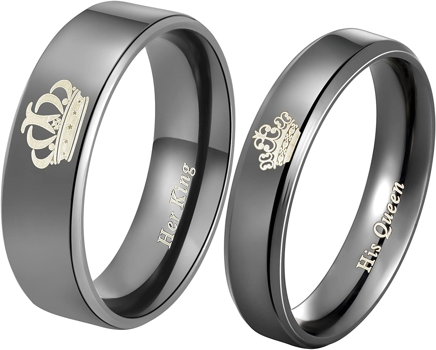 """Aegean Jewelry """"King and Queen"""" Love Style Wedding Band Set Engagement Promise Anniversary Couple Ring"""
