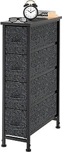 FURNINXS Vertical Dresser Chest Storage Tower with 4 Fabric Drawer Bin Organizer Unit Slim Furniture for Bedroom, Closet, Hallway, Entryway, Nursery with Steel Metal Frame, Wooden Top