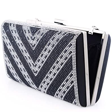 Women Clutch Evening Bag Elegant Beaded Shoulder Bag Luxurious Handbag Purse  (Black BB) 2aba9cc7a3a34