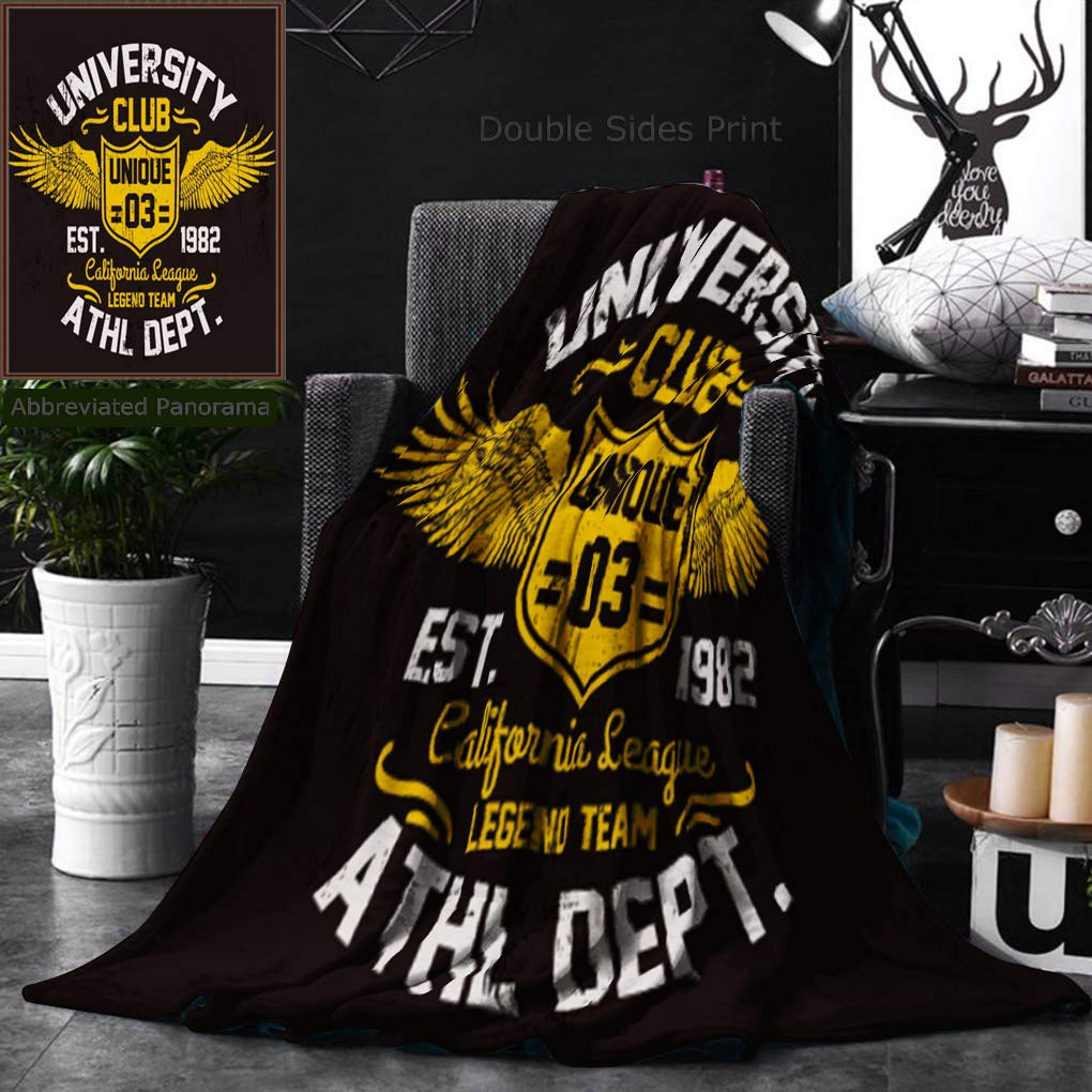 Unique Custom Double Sides Print Flannel Blankets College California Typography Illustration Super Soft Blanketry for Bed Couch, Twin Size 60 x 80 Inches