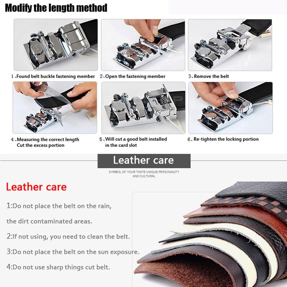 Multi-style Black Belt Mens Leather Ratchet Automatic buckle Belt