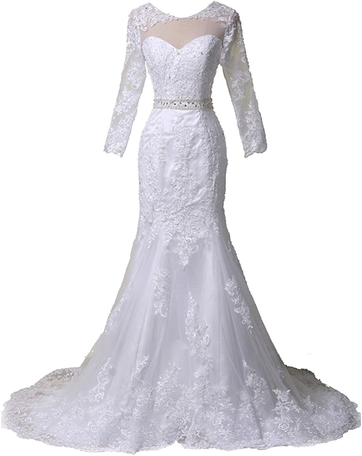 JAEDEN Lace Wedding Dress for Bride with Long Sleeves Bridal Gown with Train