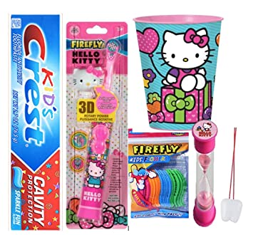 Hello Kitty Inspired 4pcs Bright Smile Oral Hygiene Bundle! Turbo Spin Toothbrush, Toothpaste,
