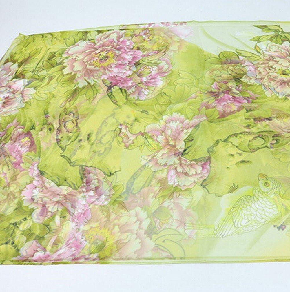 Herbstduft gr/ün Cosanter Hochwertig Tuch Stola Pashmina Schal mit Pfingstrose Blumen fliegende V/ögel Muster f/ür Kleider