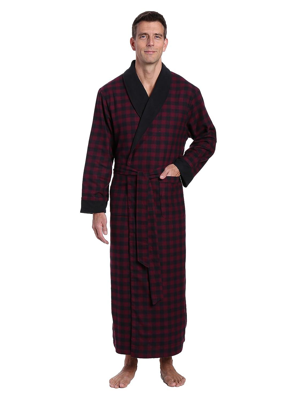 dcdafa4ad6 Noble Mount Mens Premium 100 % Cotton Flannel Fleece Lined Robe ...