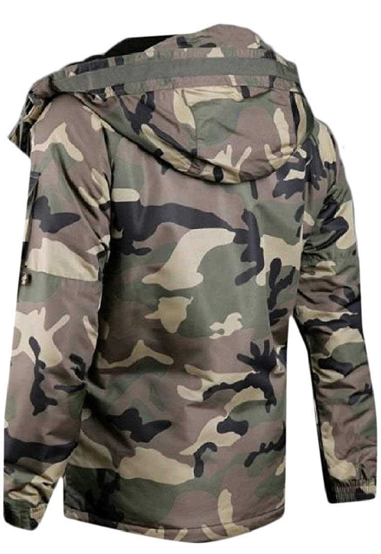 Zago Mens Splicing Full-Zip Hooded Camouflage Luxury Anorak Parka Jacket