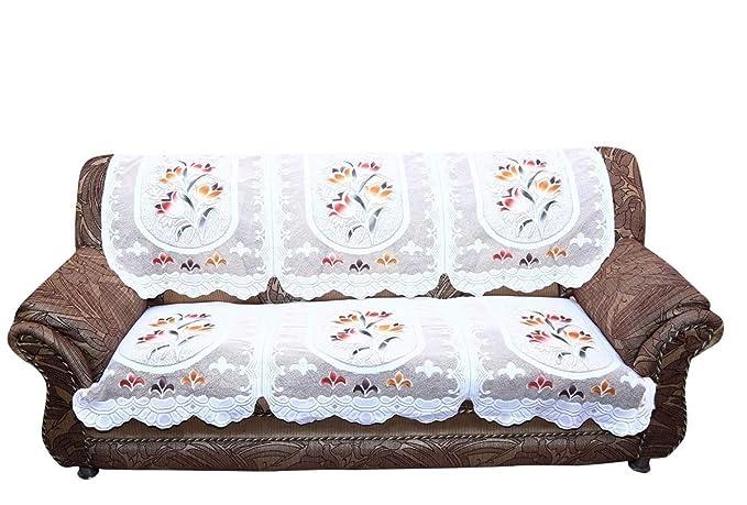 Unique Productions 3 Seater Multi Flower Net Fabric Sofa Cover Set (2 Piece)