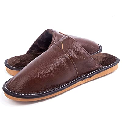 AMAWEI Slippers Women Men, Genuine Leather Comf...