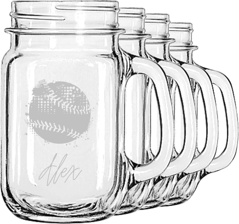 Softball Mason Jar Mugs (Set of 4) (Personalized)