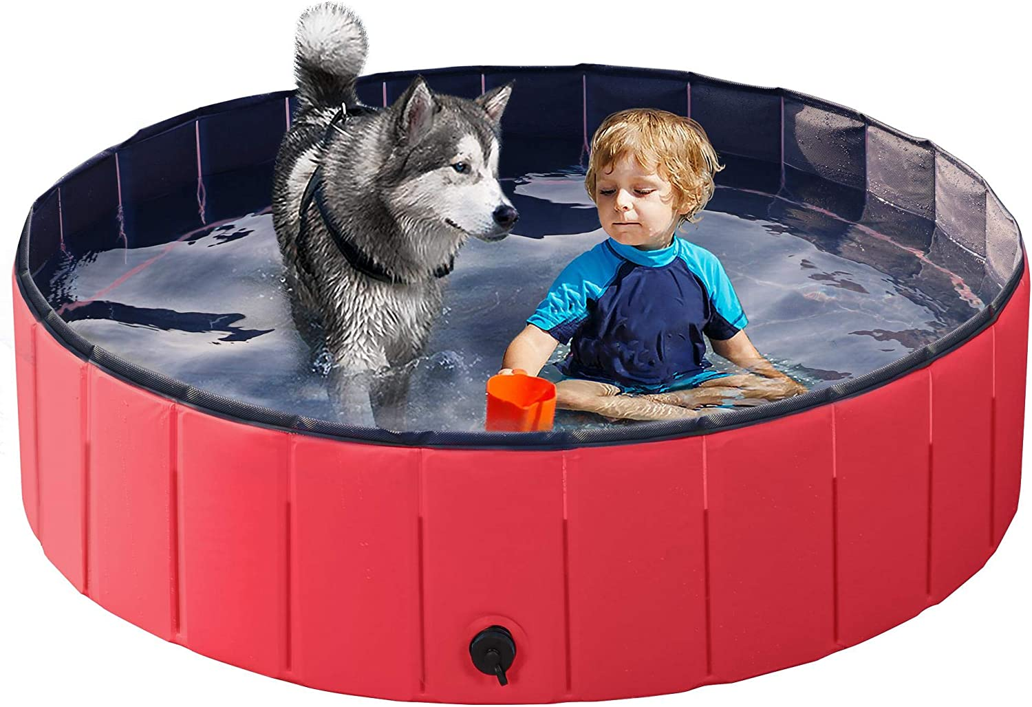 YAHEETECH Red Foldable Hard Plastic Kiddie Baby Large Dog Pet Bath Swimming Pool Collapsible Dog Pet Pool Bathing Tub Kiddie Pool for Kids Pets Dogs Cats