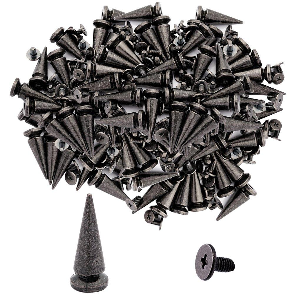 50pcs Cone Spikes Screwback Studs DIY Craft Cool Rivets Punk Stud Coincal Layer 10x20mm 3//8x3//4 Gun Black