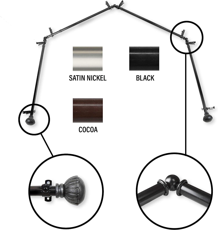 InStyleDesign Gemma 12 Sided Bay Window Curtain Rod Black Black Finish,  Satin, Nickel Finish