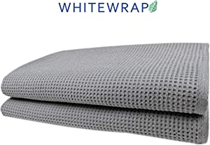 WHITEWRAP Waffle Bath Towels 28 inch x 55 inch Grey Ultra Absorbent, Fast Drying, Soft 100% Organic Cotton, Lightweight, Premium Luxury Bath Sheet Towels - for Hotels, Travel, Spa