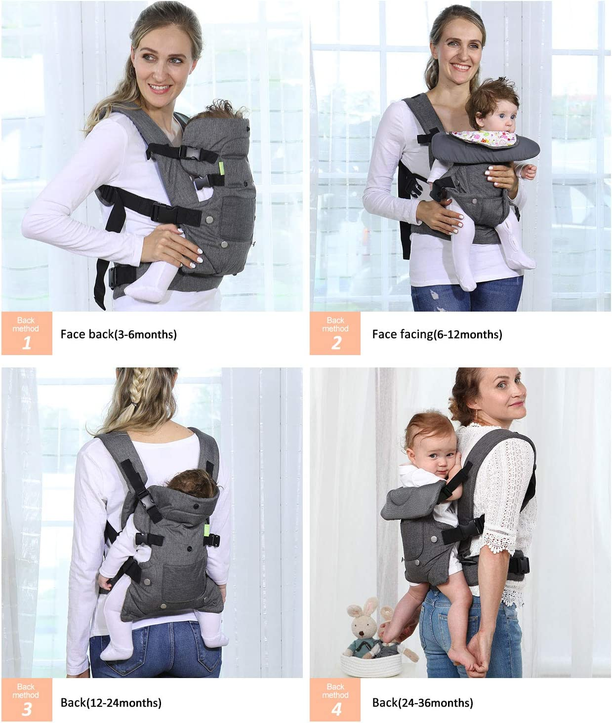 Ergonomic Design Infant Sling Convertible with Breathable Air Mesh and All Adjustable Buckles for Toddler or Newborn Babies HUIMO Baby Carrier