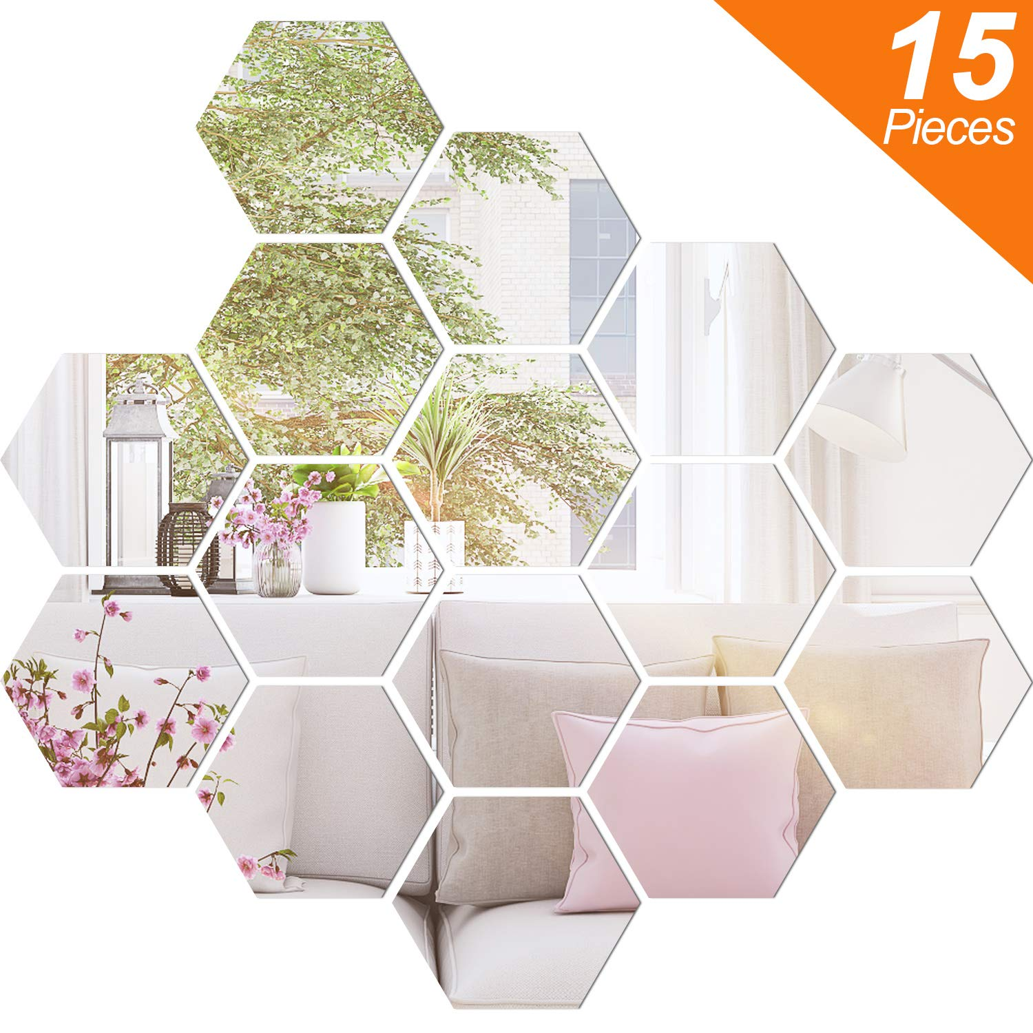 BBTO Mirror Sheets Flexible Non Glass Mirror Plastic Mirror Self Adhesive Tiles Mirror Wall Stickers (15 Pieces, Size 4)