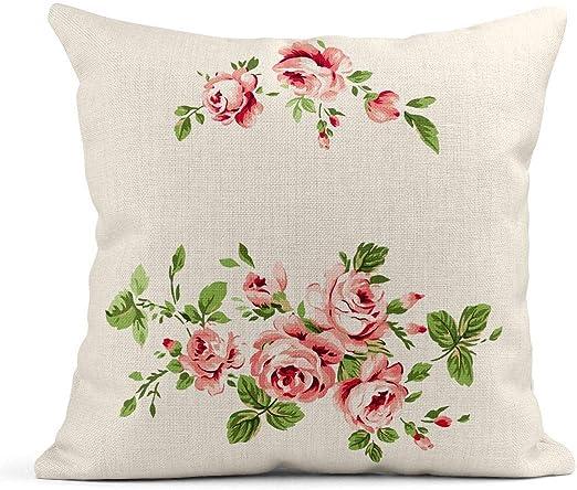 Kinhevao Cojín Rosa Dibujo Hermoso Jardín de Rosas Acuarela Elegante Floral Retro Primavera Cojín de Lino Almohada Decorativa para el hogar: Amazon.es: Jardín