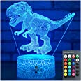 Easuntec Dinosaur Toys 3D Night Light with Remote & Smart Touch 7 Colors + 16 Colors Changing Dimmable TRex Toys 1 2 3 4 5 6