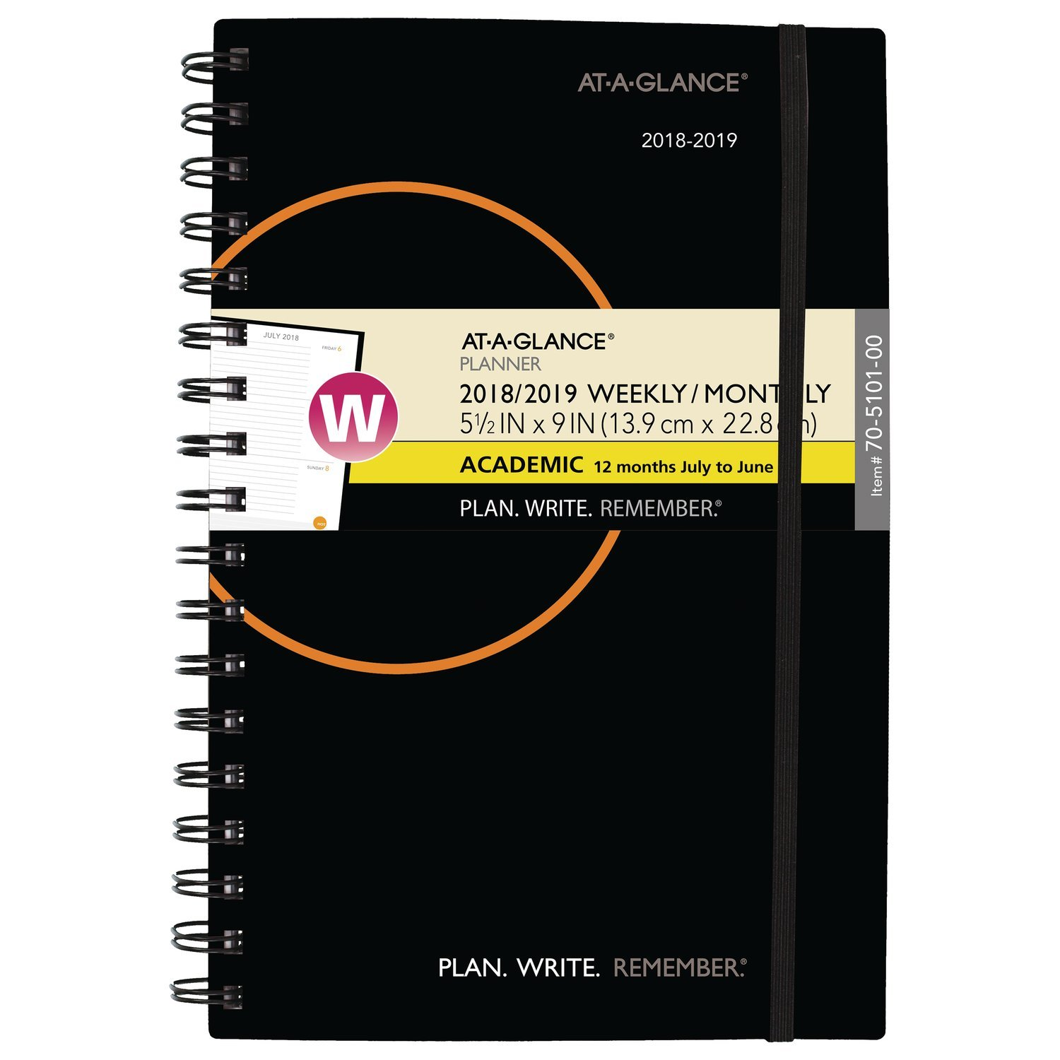 AT-A-GLANCE 2018-2019 Academic Year Weekly & Monthly Planner, Small, 5-1/2 x 9, Plan.Write.Remember, Color Will Vary (70510100) by AT-A-GLANCE