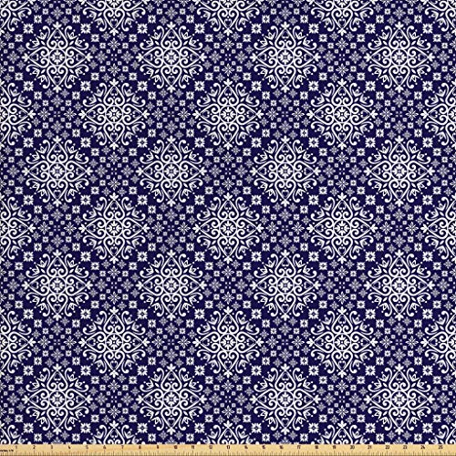 Lunarable Royal Blue Fabric by The Yard, Antique Moroccan Style Middle Eastern Inspired Ceramic Pattern Oriental Print, Decorative Fabric for Upholstery and Home Accents, 1 Yard, Indigo White