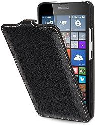 StilGut UltraSlim, Housse, étui, Coque en Cuir pour Microsoft Lumia 640 & Lumia 640 Double SIM (Compatible avec la Version Orange et Bleue), en Noir