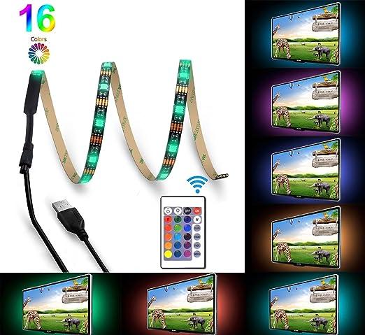 Bomcosy Retroiluminación del LED TV USB RGB 100CM corriente Control Remoto de 24 BotonesPulgadas HDTV, Monitor De PC