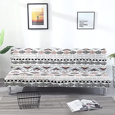 Armless Stretch Sofa Cover with Printed Vintage Simple Style Stretch ...