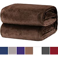 Bedsure Flannel Fleece Throw Blankets- Super Soft Fluffy Warm Solid Bed Throws for Sofa Microfiber Bed Blanket