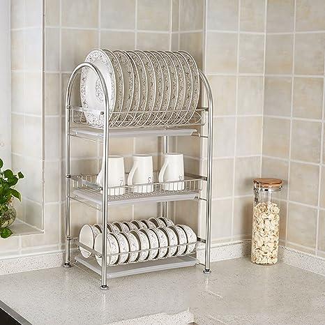 Amazon.com: Estante de cocina escurreplatos de acero ...
