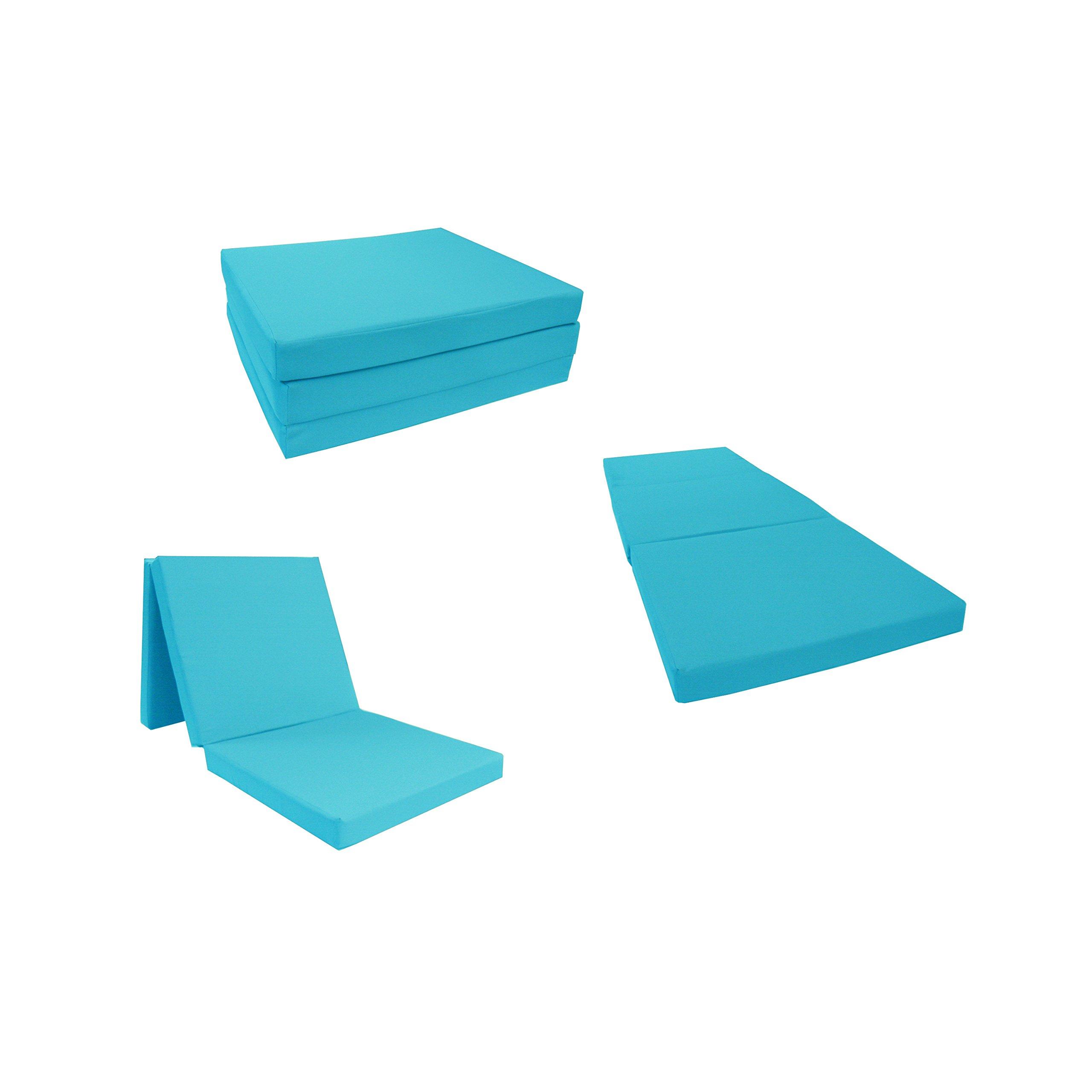 D&D Futon Furniture Turquoise Shikibuton Tri fold Foam Beds 3'' Thick X 27'' Wide X 75'' Long, 1.8 lbs high Density Resilient White Foam, Floor Foam Folding Mats. by D&D Futon Furniture