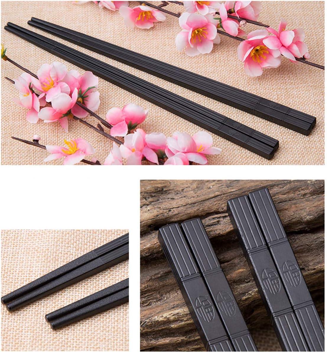 Palillos para comer con 10 pares de dos estilos Japon/és palillos chinos negro Alloy Chopsticks palillos para vajilla asi/ática reutilizables palillos lavables para lavavajillas