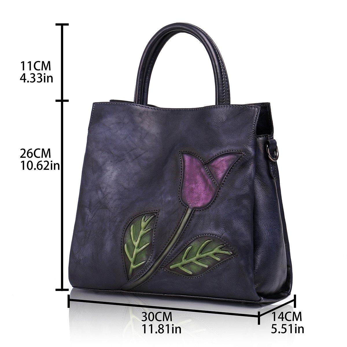 Aphison Designer Soft Leather Totes Handbags for Women, Ladies Satchels Shoulder Bags (BLACK) by APHISON (Image #5)