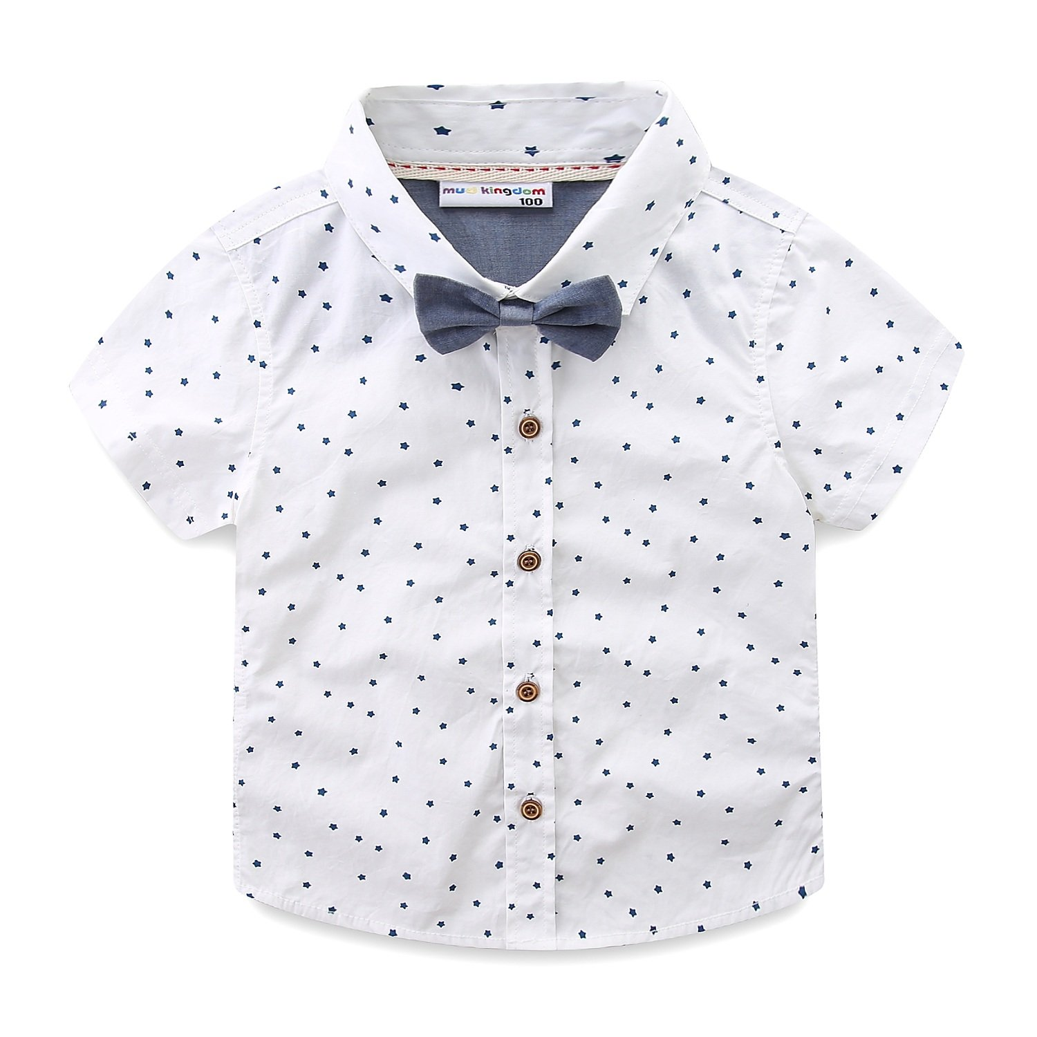 Mud Kingdom Toddler Boy Shirt and Tie Short Sleeve Stars 3T White