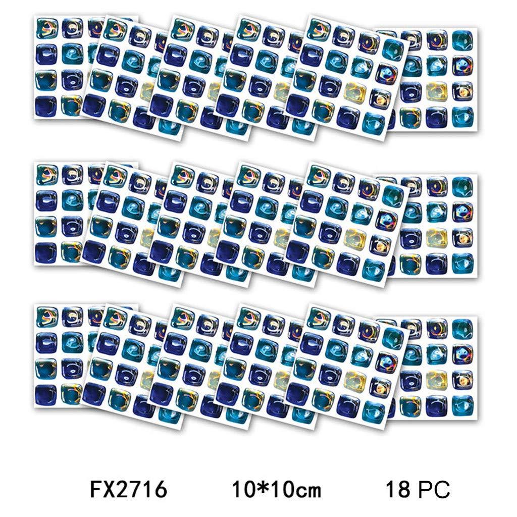 Klebefolie K/üche Fliesen-Folie Bad Fliesenaufkleber 10/×10cm Wieder abl/ösbar 18 Klebefliesen Selbstklebende mosaik fliesenaufkleber Bad Fliesendekor Aufkleber einfache Verklebung