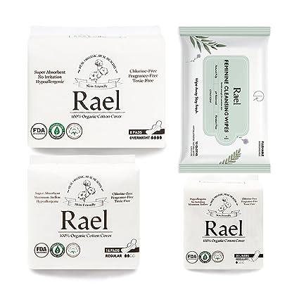Rael Organic Pads Value Packs - Almohadillas regulares de algodón orgánico certificado, Almohadillas para la