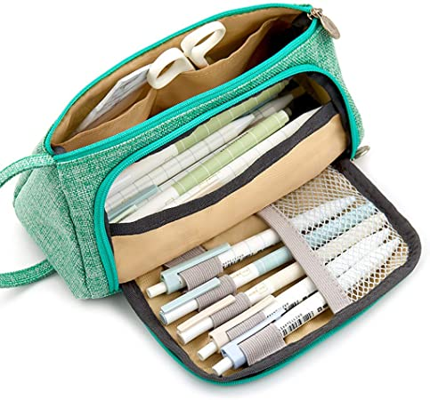 VIccoo Estuche Grande para lápices Kawaii Estuche para lápices de Gran Capacidad Artículos Escolares Papelería - Verde: Amazon.es: Hogar