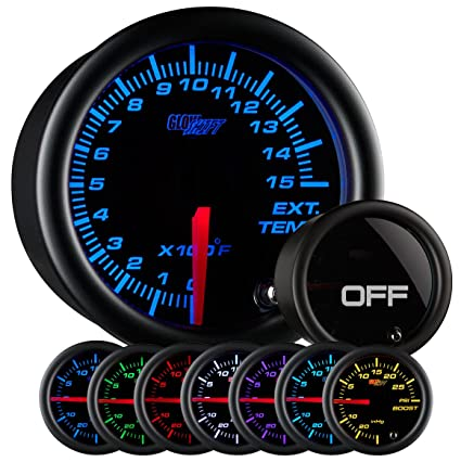 amazon com glowshift tinted 7 color 1500 f pyrometer egt gauge rh amazon com