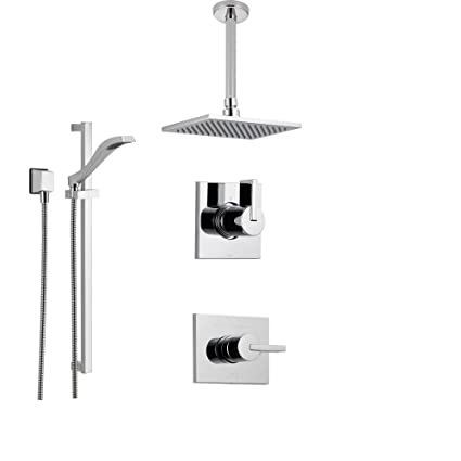Delta Rain Shower Head With Handheld.Delta Vero Chrome Shower System With Normal Shower Handle 3 Setting Diverter Large Ceiling Mount Rain Showerhead And Handheld Shower Ss145383