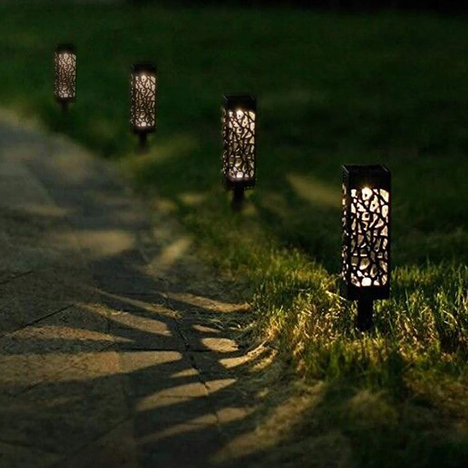 Driveway Walkway Patio Fly Partner Outdoor 12 pcs Solar Powered LED Garden Landscape Lighting for Lawn Yard 12pcs