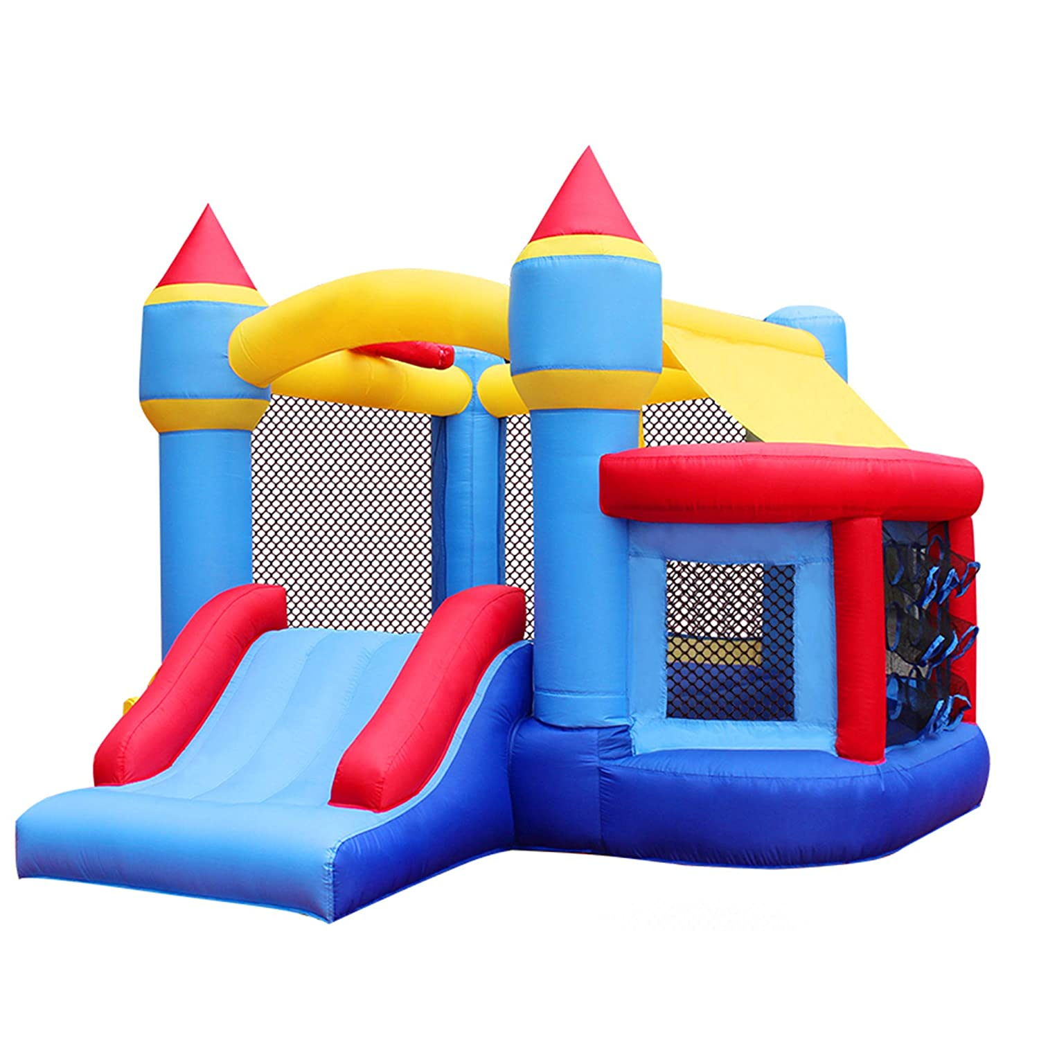 Amazon.com: RetroJump Bounce House Castle Bouncy Inflatable Slide Bouncer  Playhouse With Ball Pit Basketball Hoop With Blower: Toys & Games