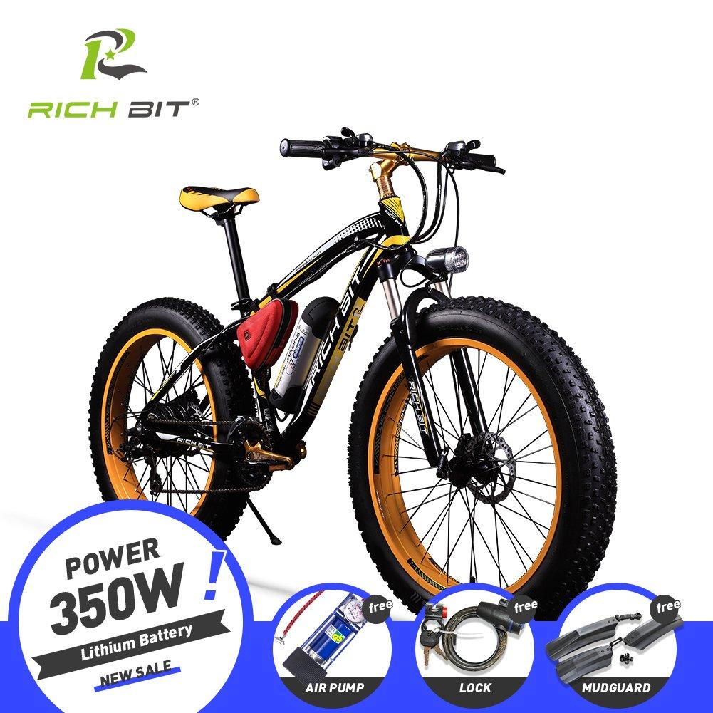 RICH BIT012 FATBIKE ファットアシストバイク スノーバイク 電動アシスト自転車 リチウムバッテリー 26インチホイール シマノ21段変速 極太タイヤ26×4.0 電機350w 雪道 悪路 泥よけ付き B076P7XZZS イェロー イェロー
