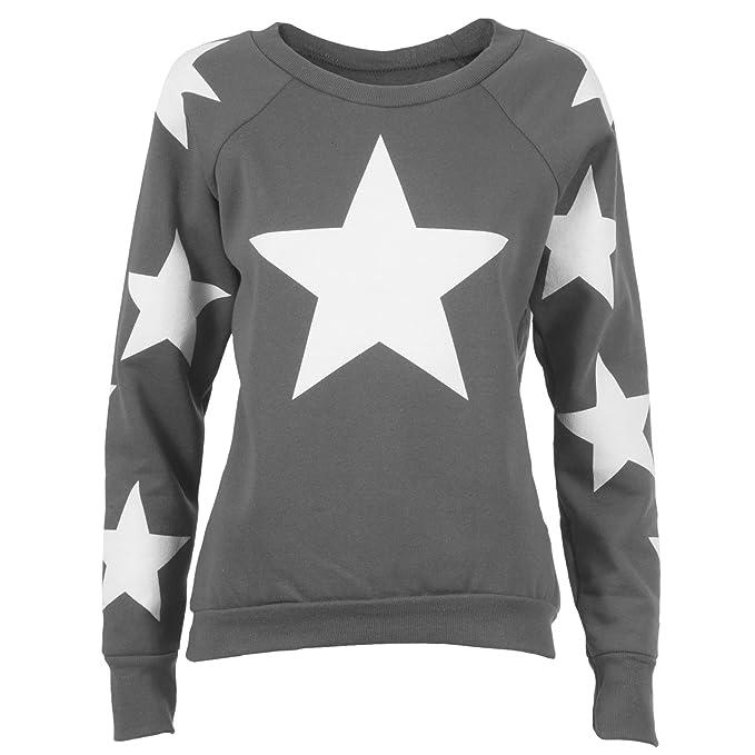 Star estrellas estrellas suéter Jersey Sudadera Mujer aufdruck Supreme Obey diso Bey Boy Hangover Bonjour Parental Advisory Águila gris claro small/medium: ...