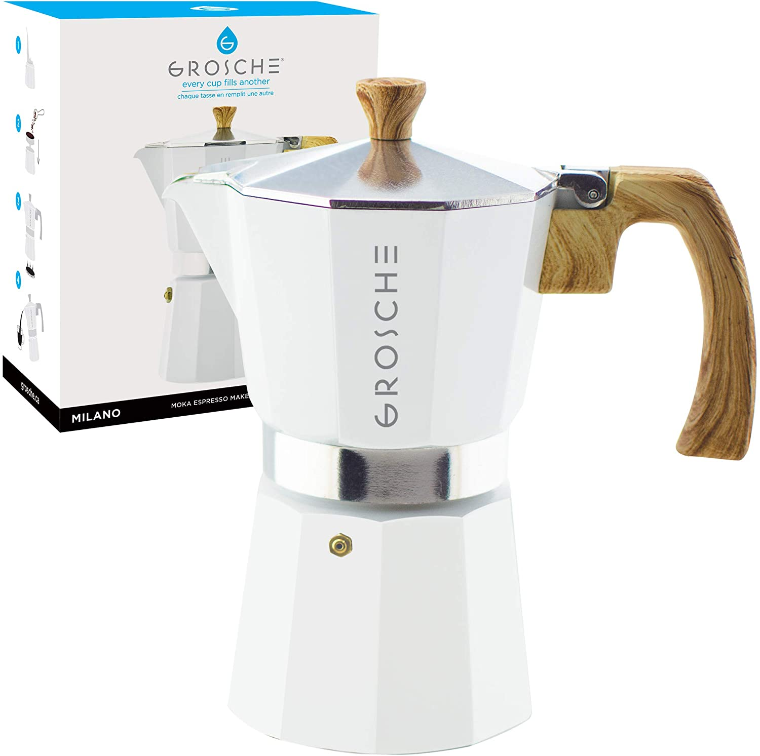 GROSCHE Milano Stovetop Espresso Maker Moka Pot 6 Cup - 9.3 oz, White - Cuban Coffee Maker Stove top coffee maker Moka Italian espresso greca coffee ...