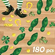 Ivenf St. Patrick's Day Decorations Leprechaun Footprints Floor Stickers, Shamrock Gold Coin Stickers for Kids School Home O