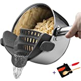 Clip on Strainer for Pasta,Ground Beef Grease,Clip on Colander, Silicone Sieve Snaps on Bowls, Spaghetti Strainer Pots and Pans, Set includes Silicone Strainer & Spoon Rest, by Lexvss【Grey】