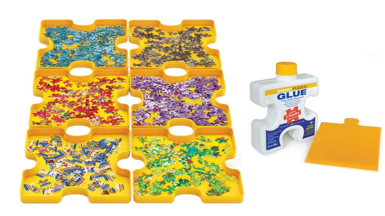 EUROGRAPHICS 2-Pack Puzzle Accessory KIT: Sorting Trays + Bottled Glue by EuroGraphics