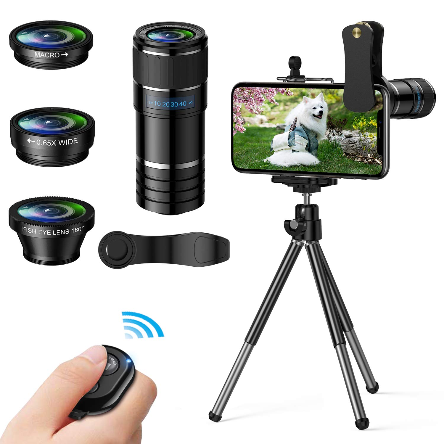 Phone Camera Lens, 4 in 1 Cell Phone Lens kit, 12x Telephoto Lens + 0.65x Wide Angle Lens + Macro Lens + Fisheye Lens,Clip-On Lenses for iPhone Android Smartphone with Tripod+Shutter Remote by EWEIMA