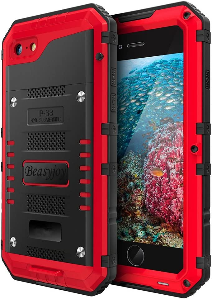 Beasyjoy iPhone 8/7 /SE Metal Case Heavy Duty Sturdy Durable Aluminum Cover Screen Waterproof Full Body Protection,Shockproof DropProof Rugged Military Grade Red