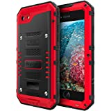 iPhone 7 Case Waterproof with Built-in Screen Full Body Protection,Beasyjoy Heavy Duty Hard Strong Sturdy Metal Cover,Dropproof Shockproof Durable Tough Rugged Military Grade Defender for Commuter,Red