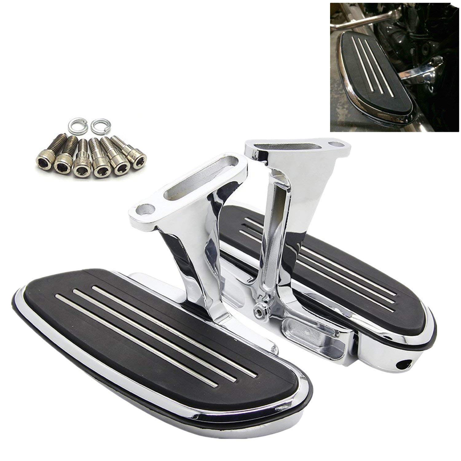 Passenger Floorboards Chromed Streamline Footboards Mount Bracket Kits for Touring Models Road King Street Glide 1993-2018 Yikesai